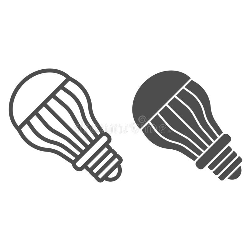 Ecological light bulb line and glyph icon. Eco lamp vector illustration isolated on white. Electric outline style design. Designed for web and app. Eps 10 vector illustration