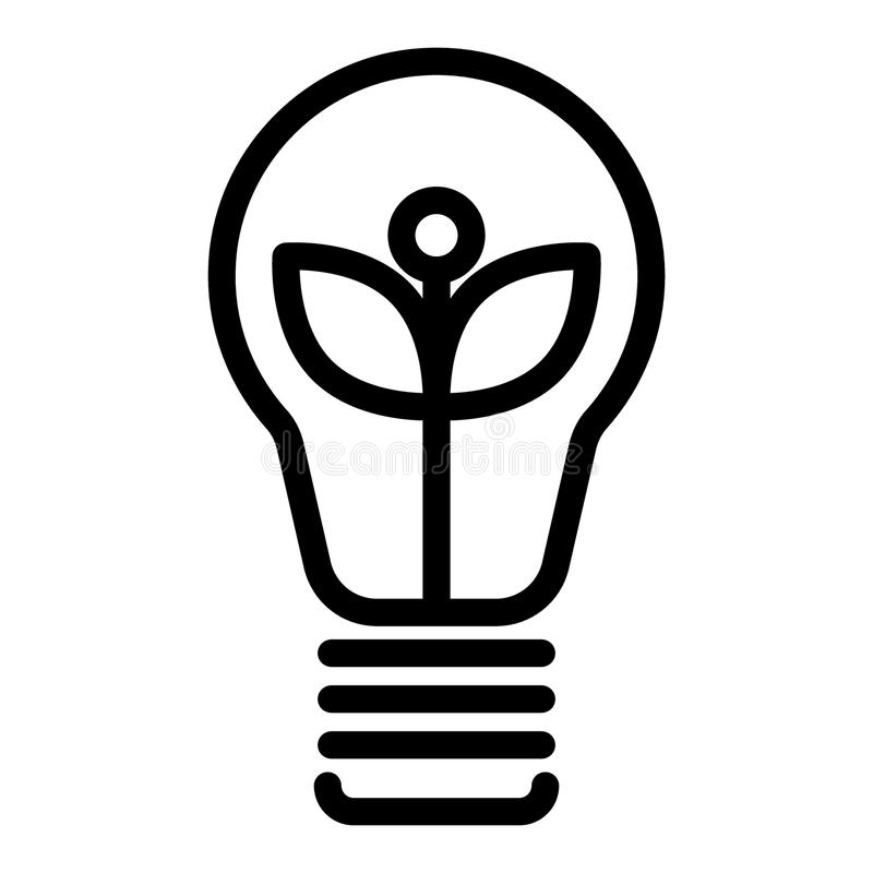 Ecological light bulb line icon. Eco lamp vector illustration isolated on white. Eco energy outline style design. Designed for web and app. Eps 10 stock illustration