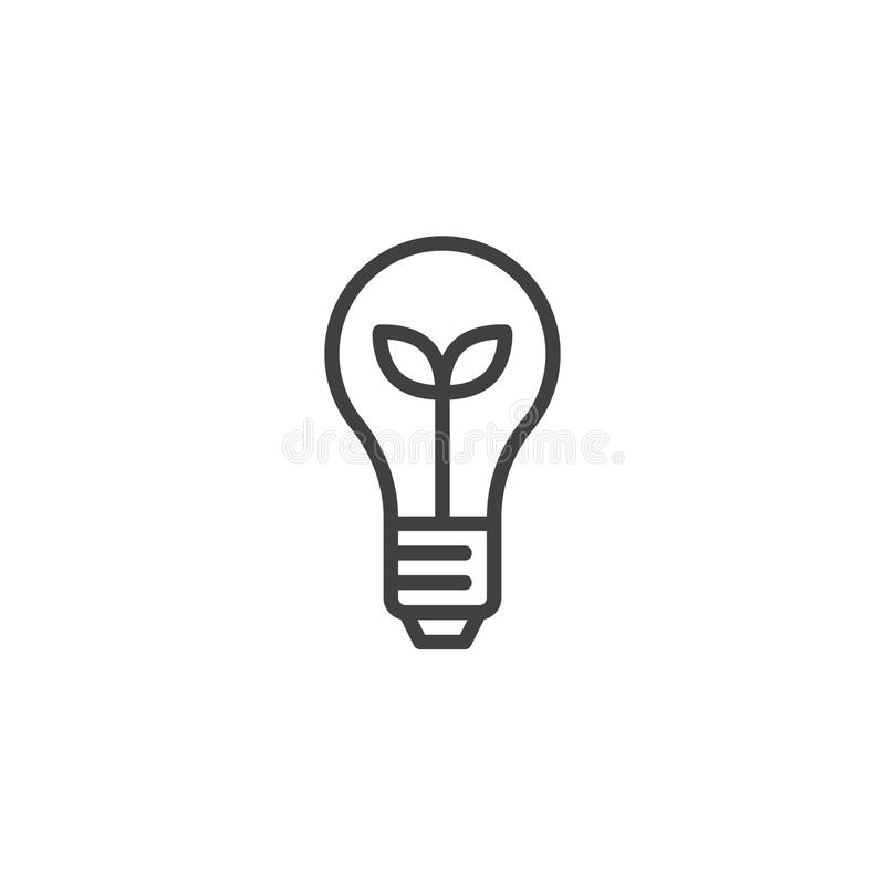Ecological light bulb outline icon. Linear style sign for mobile concept and web design. Light bulb with plant inside simple line vector icon. Symbol, logo stock illustration