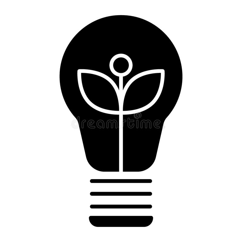 Ecological light bulb solid icon. Eco lamp vector illustration isolated on white. Eco energy glyph style design. Designed for web and app. Eps 10 royalty free illustration