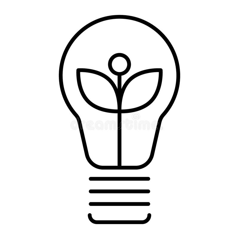 Ecological light bulb thin line icon. Eco lamp vector illustration isolated on white. Eco energy outline style design. Designed for web and app. Eps 10 royalty free illustration