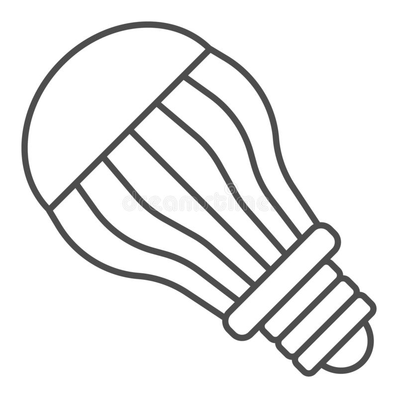 Ecological light bulb thin line icon. Eco lamp vector illustration isolated on white. Electric outline style design. Designed for web and app. Eps 10 stock illustration