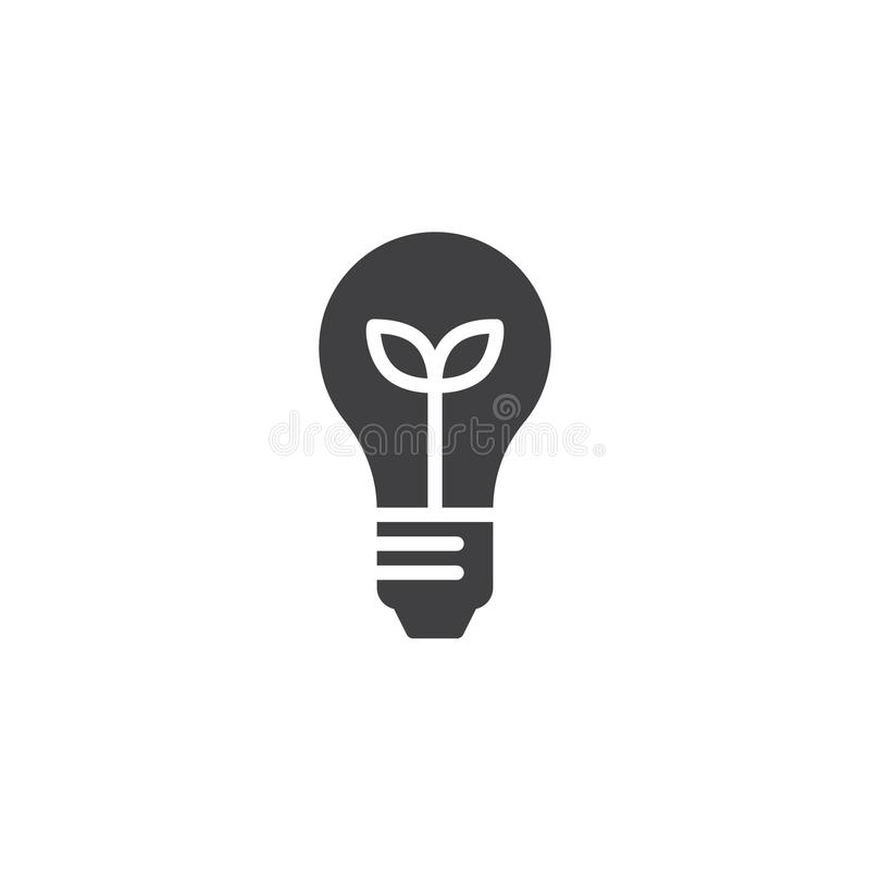 Ecological light bulb vector icon. Filled flat sign for mobile concept and web design. Light bulb with plant inside simple solid icon. Symbol, logo stock illustration