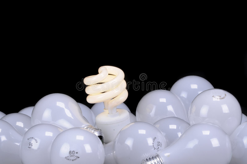 Ecological light source. The green light stock photo