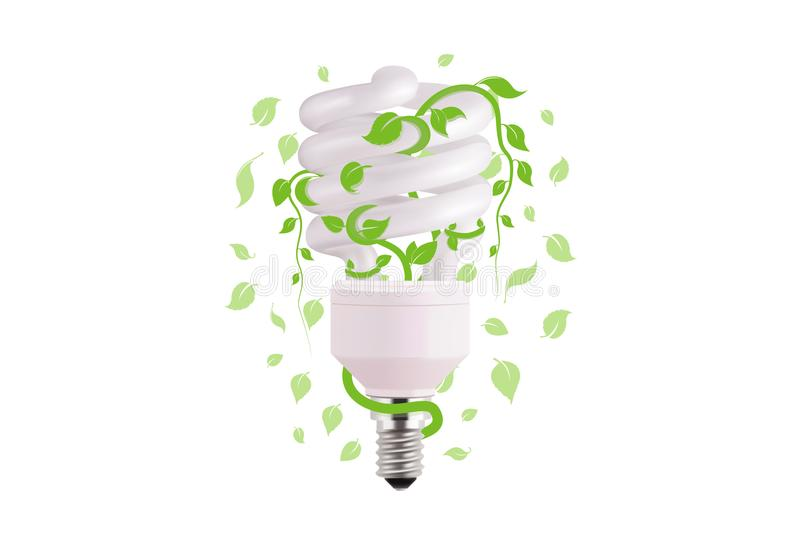 Ecological lightbulb icon in vector format. Eco idea design of Vector green light. Light bulb and green leaves. Technology and nature connection. Concept vector illustration