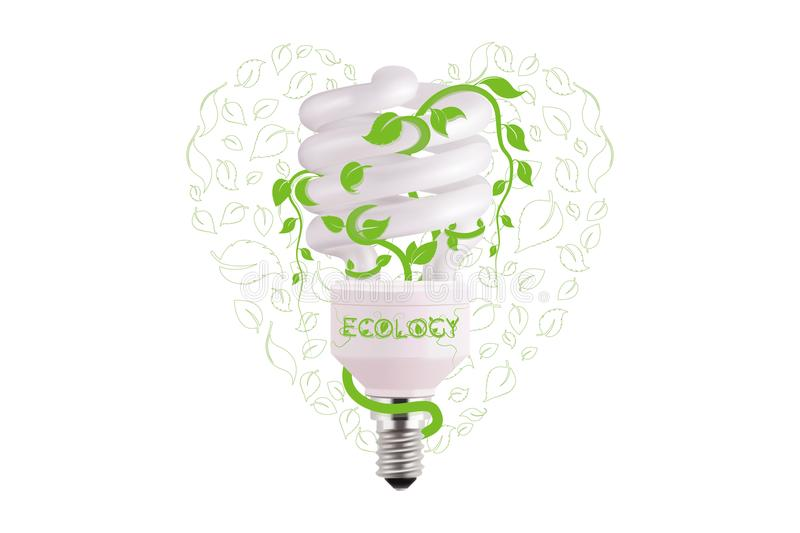 Ecological lightbulb icon in vector format. Eco idea design of Vector green light. Light bulb and green leaves. Technology and nature connection. Concept stock illustration