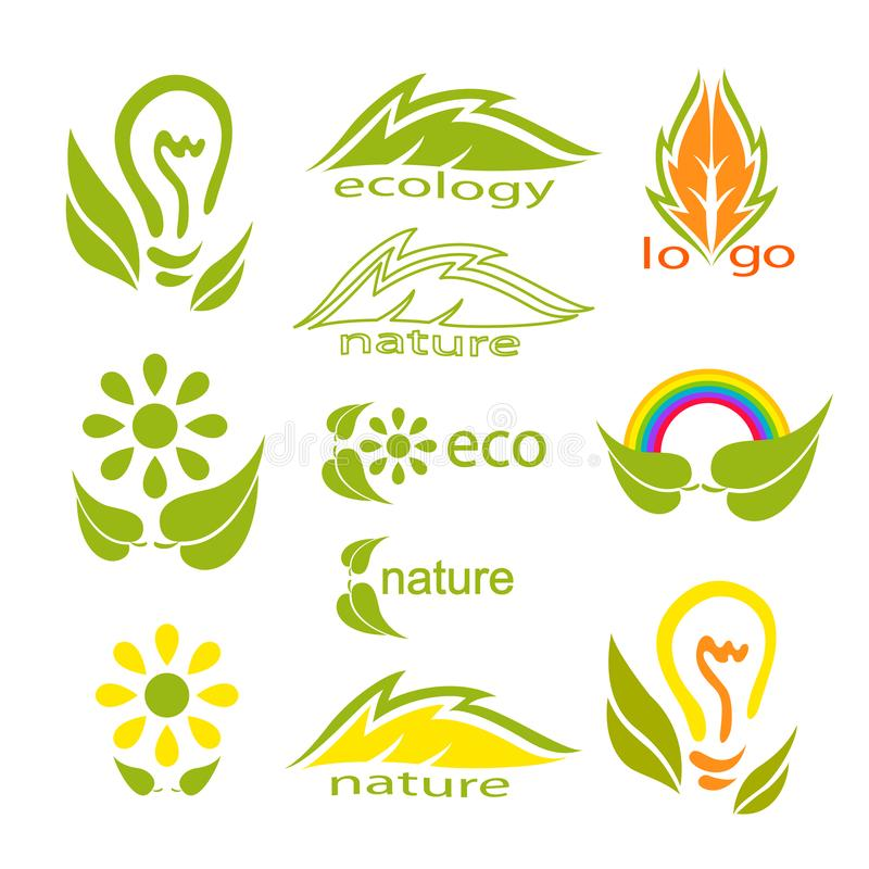 Ecological logo or icon set with green leaves, light bulb, rainbow, flowers and stylized leaves. Beautiful element for your design royalty free illustration