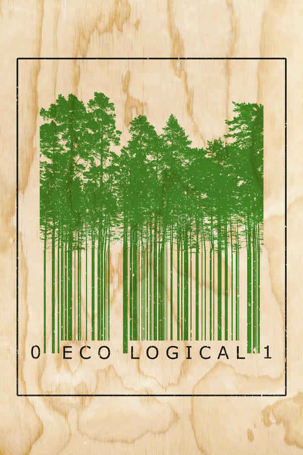 Ecological natural product bar code concept. With green trees silhouettes over wooden texture royalty free illustration