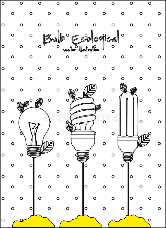 Ecological plant bulb. With plug over white vector illustration stock illustration