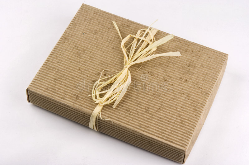 Ecological present box. Photo of ecological present box isolated royalty free stock photo