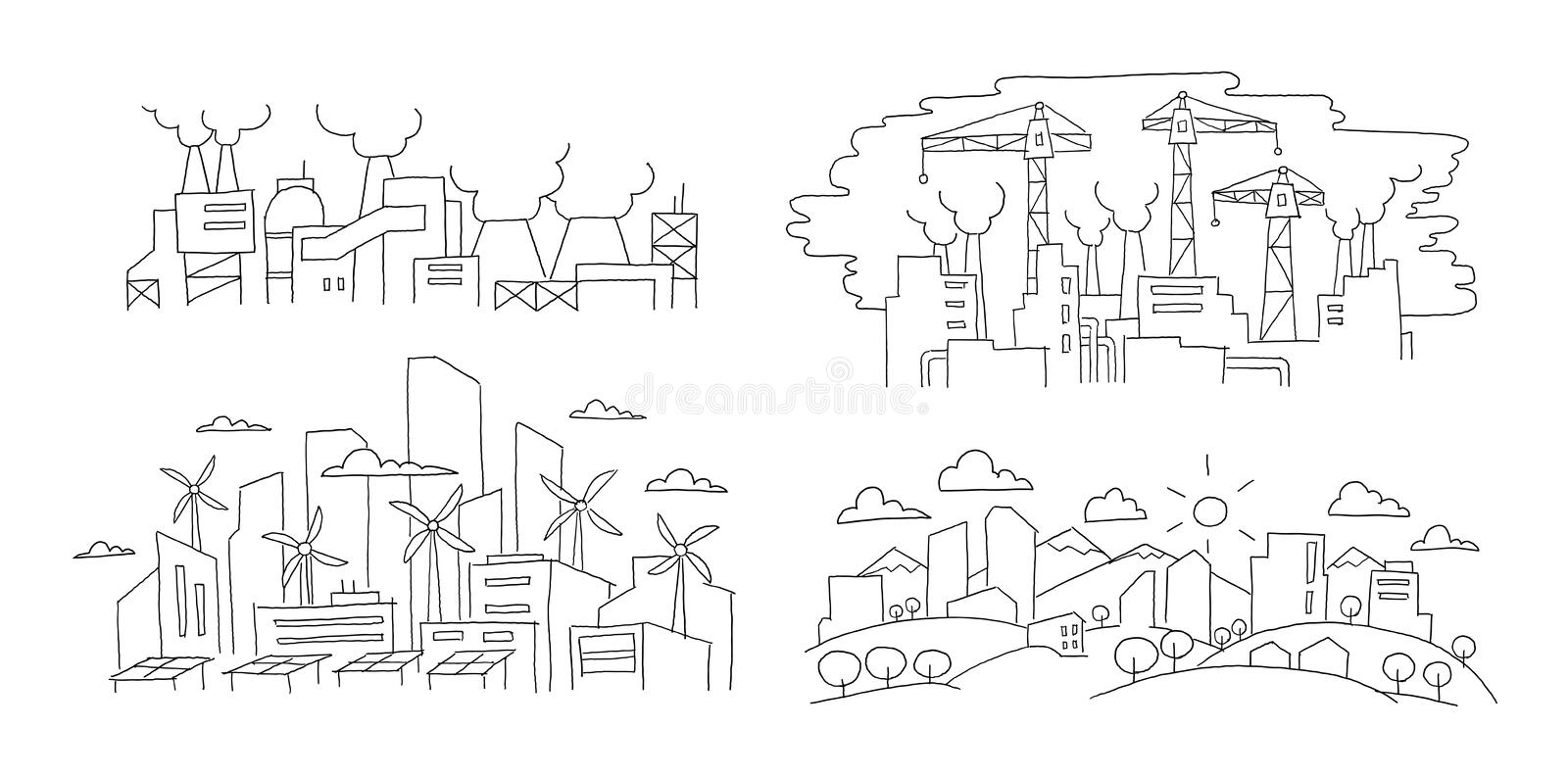 Ecological problems. City and factories. Hand drawn vector illustration. Renewable energy city and pollution environment royalty free illustration