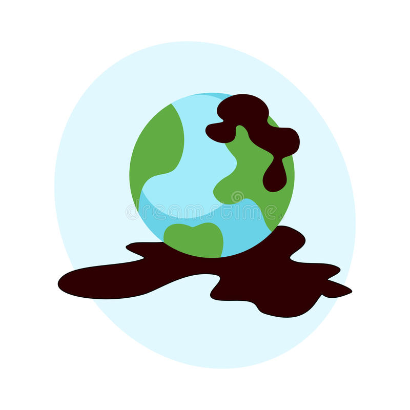 Ecological problems environmental oil pollution of water earth vector stock illustration
