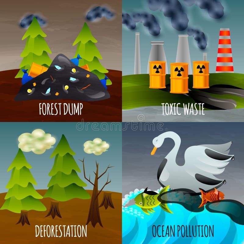 Ecological Problems Flat Design Concept royalty free illustration