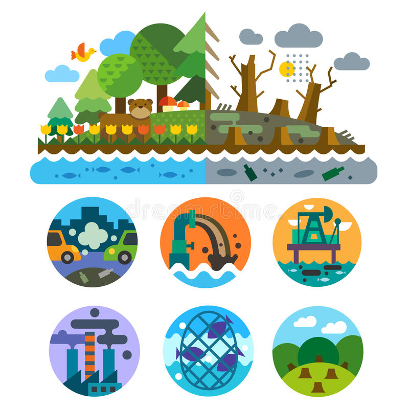 Ecological problems. Pollution of water, earth, air, deforestation, destruction of animals. Mills and factories. Forest landscape. Environmental protection royalty free illustration