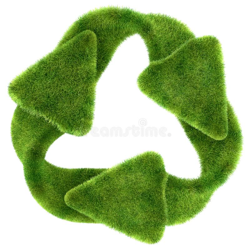 Ecological sustainability: green grass recycling symbol stock illustration