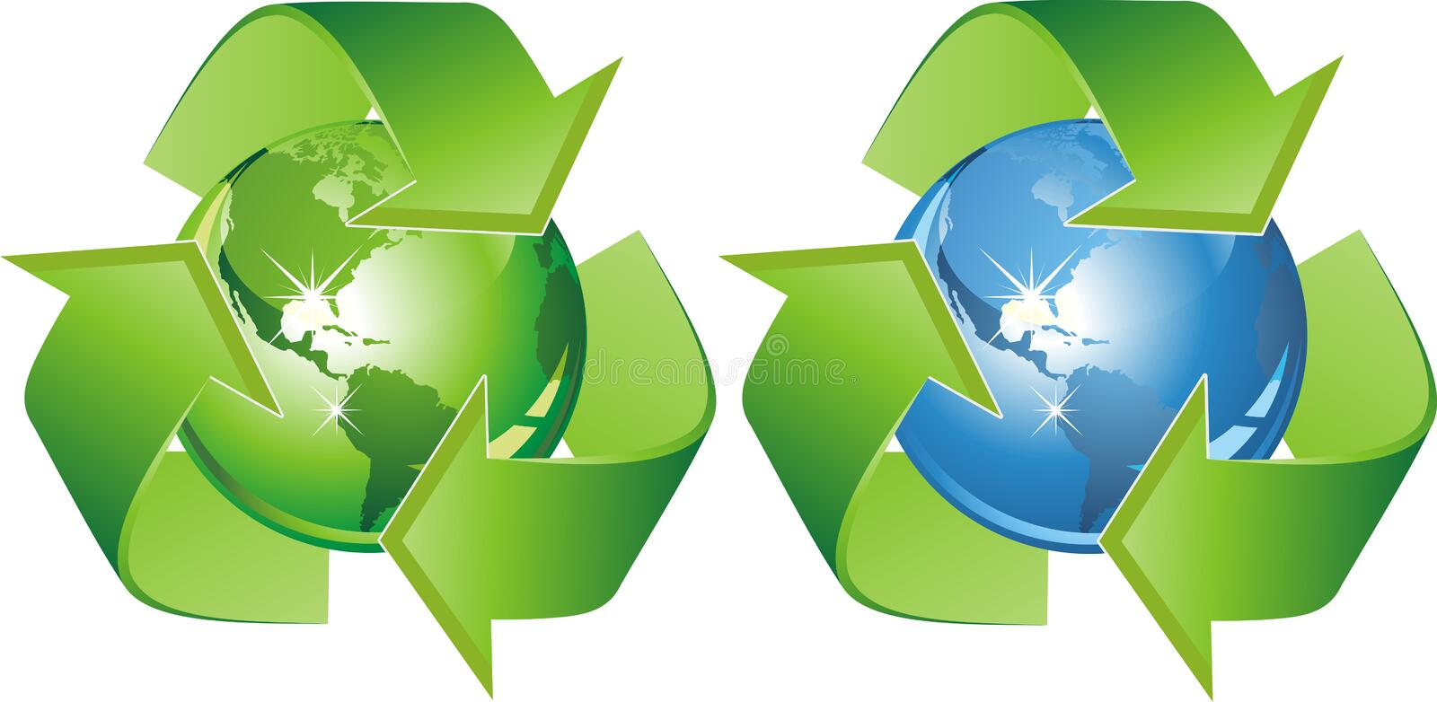 Ecological symbol - earth surrounded with green arrows. Sign protection ekosistemy our planet. stock illustration