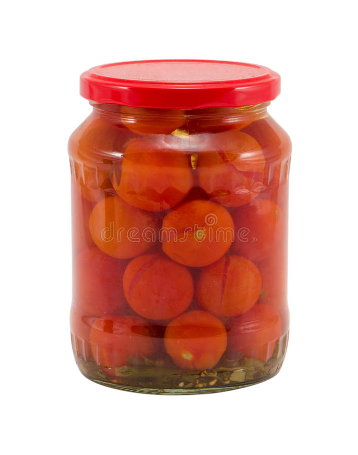 Ecological Tomatoes Vegetables Canned Glass Jars Royalty Free Stock Images