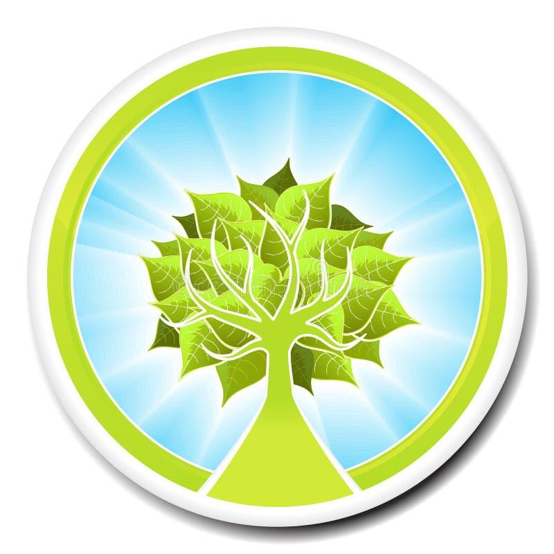Ecological tree badge design vector illustration