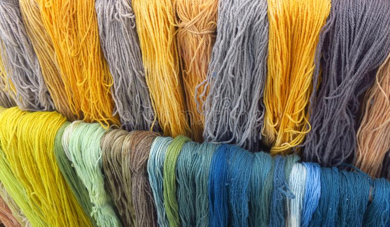Ecological woolen threads. Colored with natural colors, Lithuania ancient crafts stock photography