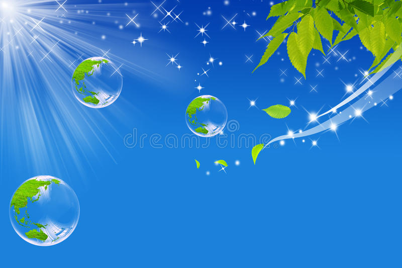 Ecological world. Representative image of the ecological world with a shining sun and beads of soap with the world made of grass and the wind that it blows on vector illustration