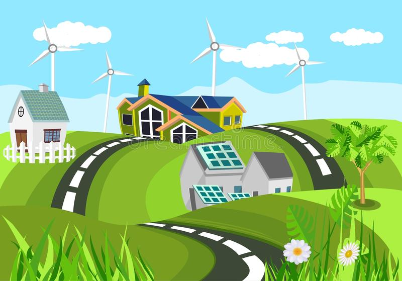 Ecologically czyści domy w zielonych wzgórzy czystym zielonym invironment, wieś, royalty ilustracja
