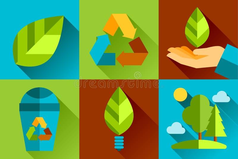 Ecologico concettuale di progettazione piana moderna di vettore royalty illustrazione gratis