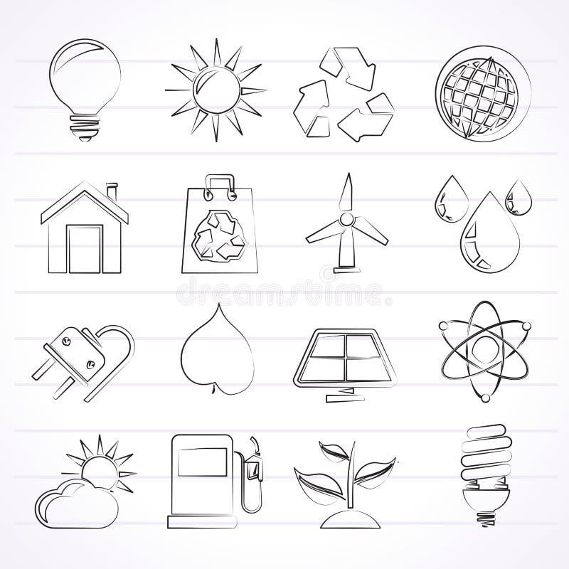 Ecologie, aard en milieupictogrammen stock illustratie