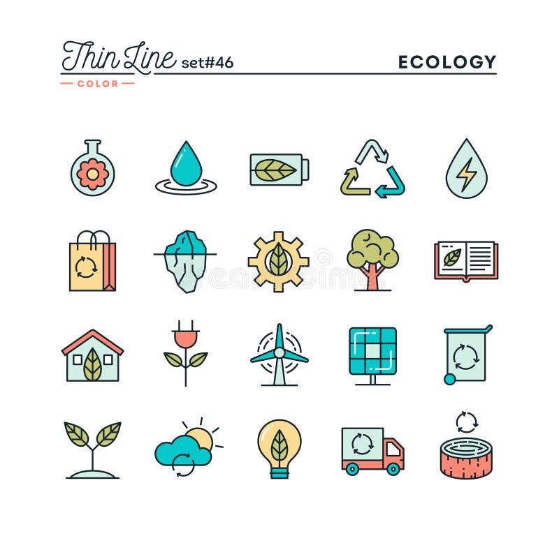 Ecologie, aard, schone energie, recycling en meer, dun lijncol. vector illustratie