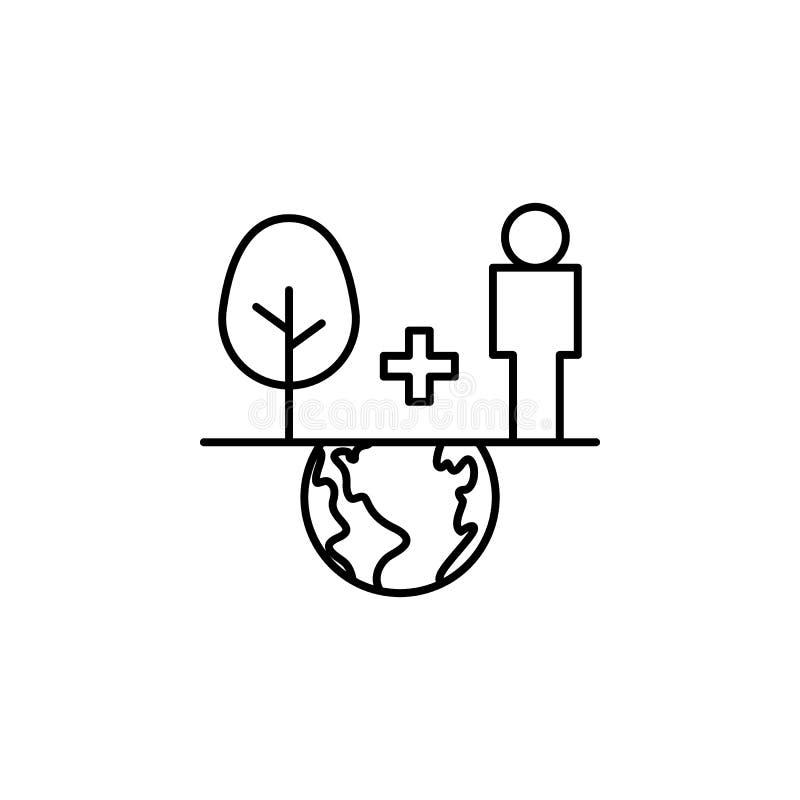 ecologie, aarddag, balans, boom, menselijk pictogram Element van het pictogram van de moederaarddag Thin line pictogram voor ontw vector illustratie
