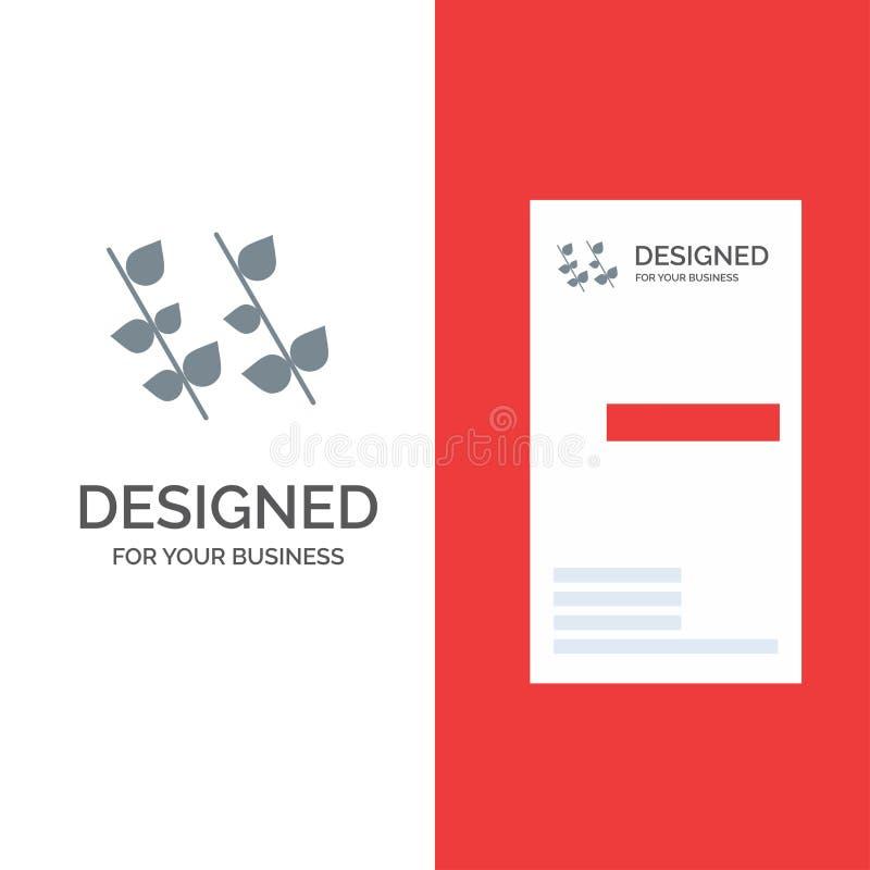 Ecologie, Blad, Aard, de Lente Grey Logo Design en Visitekaartjemalplaatje stock illustratie