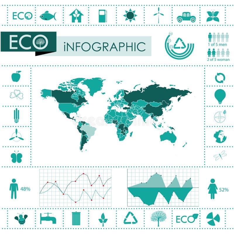 Ecologie, de grafiekinzameling van recyclingsinfo stock illustratie