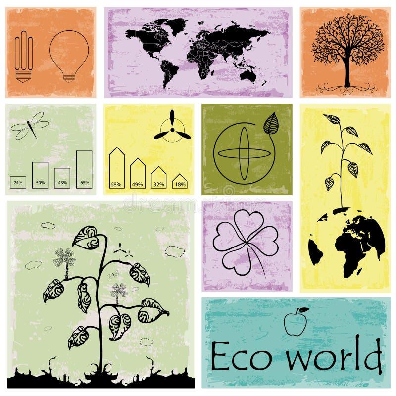Ecologie, de grafiekinzameling van recyclingsinfo vector illustratie