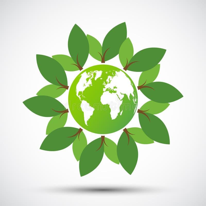ecologie De groene steden helpen de wereld met milieuvriendelijk conceptenidee met bol en boomachtergrond Vector illustratie stock illustratie