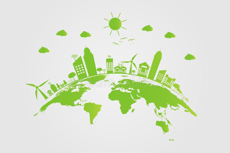 ecologie De groene steden helpen de wereld met milieuvriendelijke conceptenideeën Vector illustratie royalty-vrije illustratie
