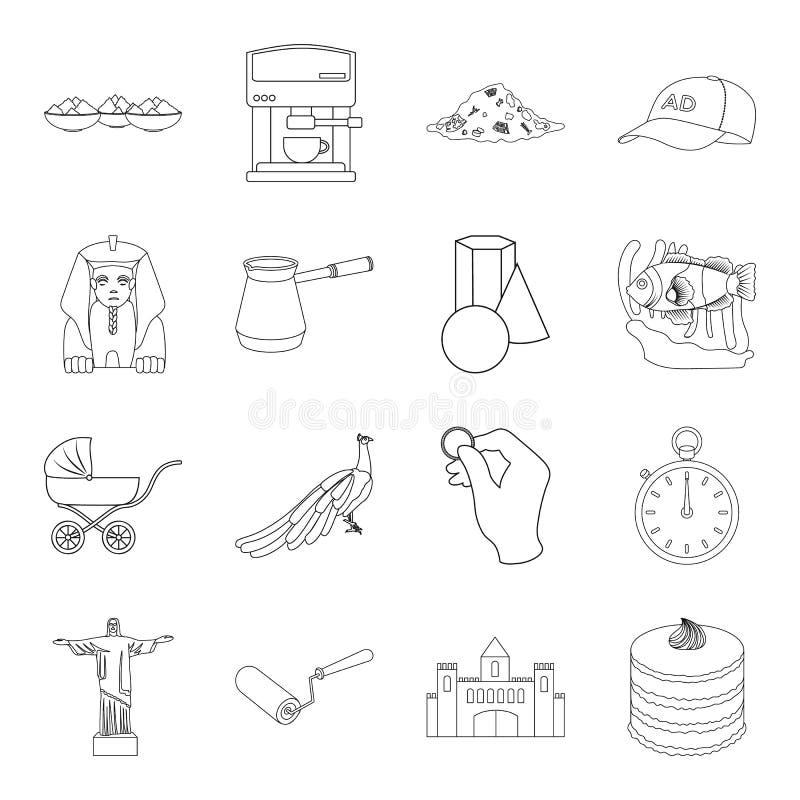 Ecologie, dieren, financiën en ander Webpictogram in overzichtsstijl het koken, het interesseren, de bouwpictogrammen in vastgest stock illustratie
