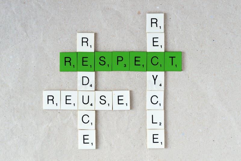 Ecologie en duurzaamheid: recycleer, verminder, gebruik opnieuw en respecteer royalty-vrije stock foto