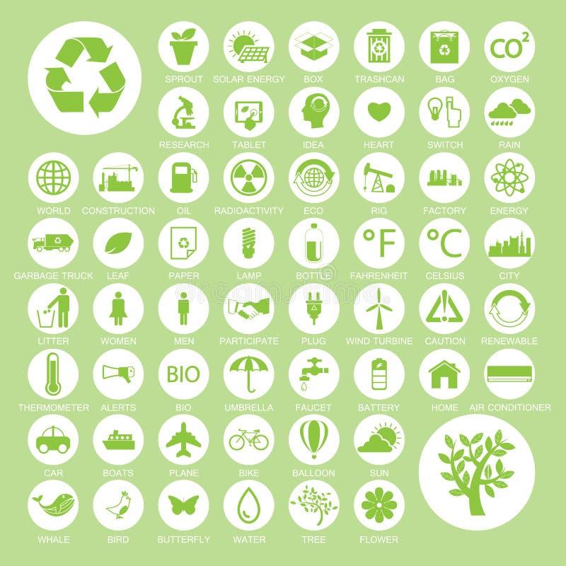 Ecologie en kringlooppictogrammen, vectoreps10 stock illustratie
