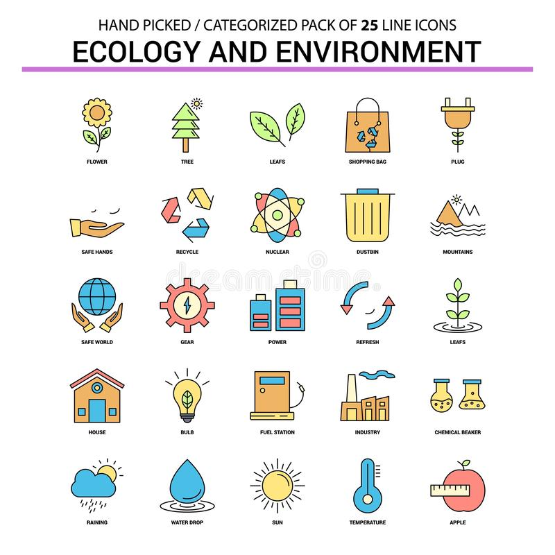 Ecologie en Milieu Vlak Geplaatst Lijnpictogram - Bedrijfsconcept Ico vector illustratie