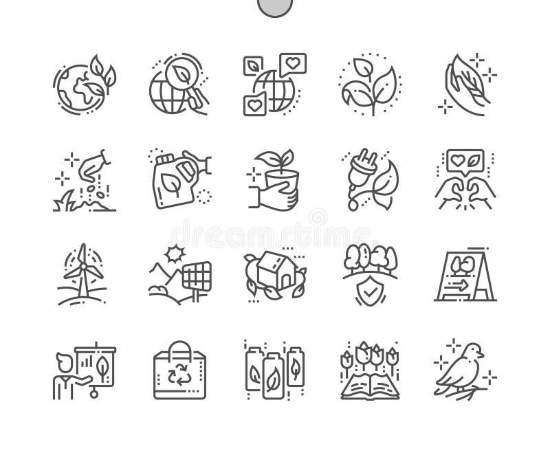 Ecologie goed-Bewerkte Pictogrammen 30 van de Pixel Perfecte Vector Dunne Lijn 2x Net voor Webgrafiek en Apps stock illustratie