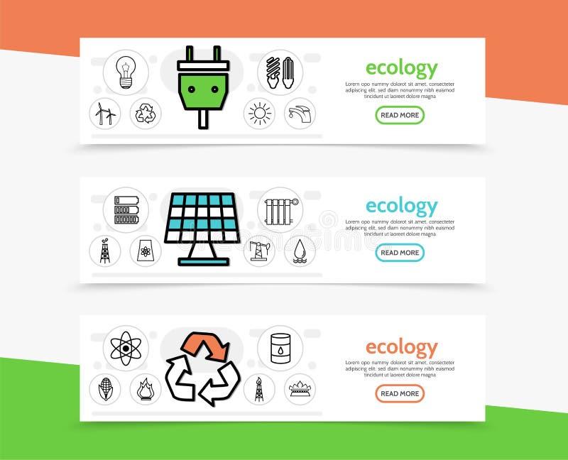 Ecologie horizontale banners vector illustratie
