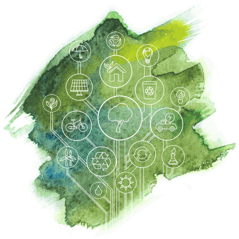 Ecologie Infographic met Aquarelle Vlek vector illustratie