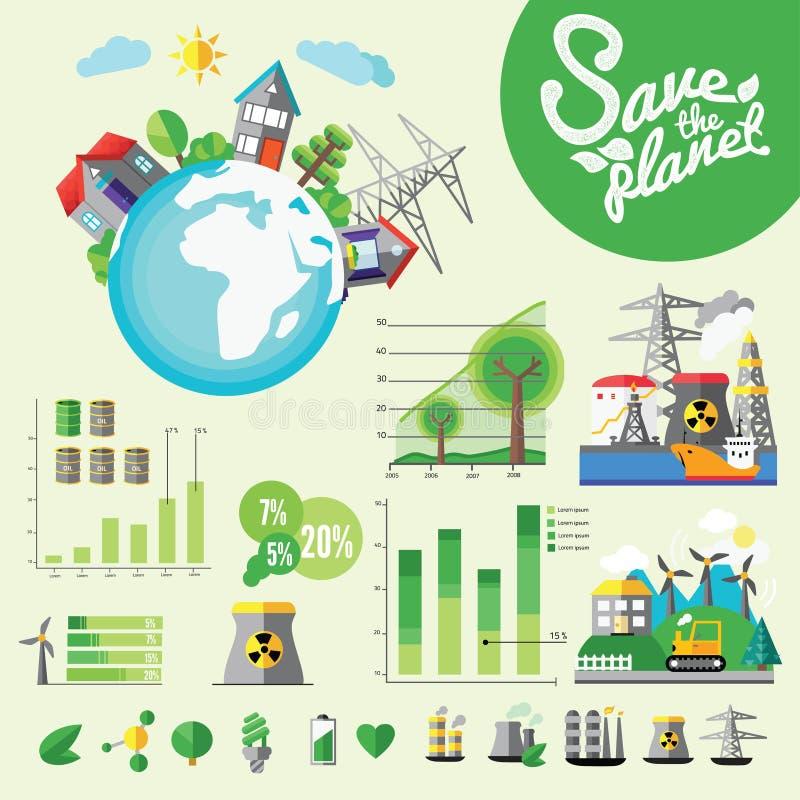 Ecologie Infographic, vectorillustratie royalty-vrije illustratie