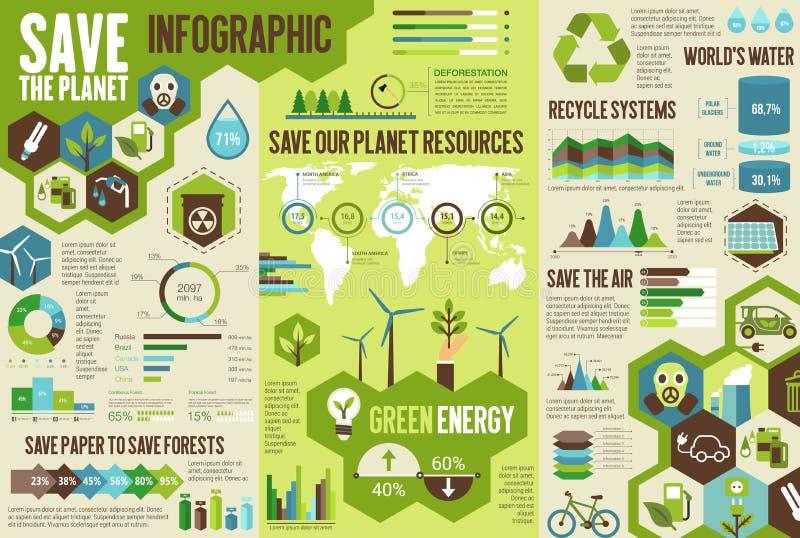 Ecologie infographic voor sparen het concept van de Aardeplaneet royalty-vrije illustratie