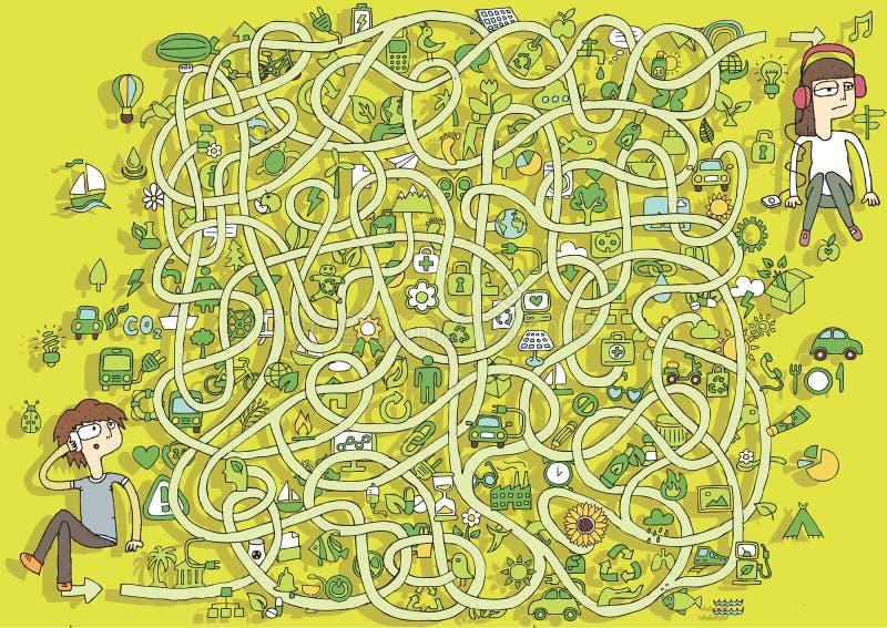 Ecologie Maze Game. Oplossing in verborgen laag! royalty-vrije illustratie