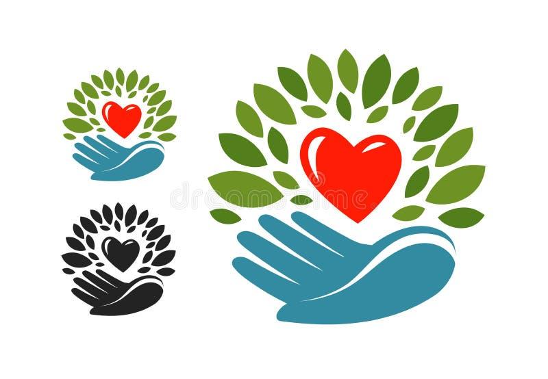 Ecologie, milieubescherming embleem of etiket Natuurlijk, biologisch product, milieuvriendelijk pictogram Vector stock illustratie