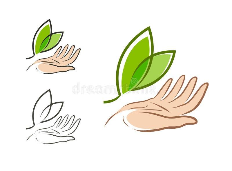 Ecologie, milieuembleem Natuurlijk of biologisch product, vers etiket Vector illustratie stock illustratie