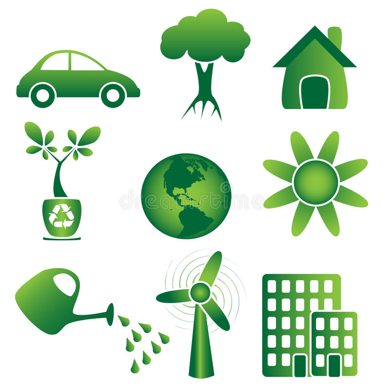 Ecologie - Pictogrammen royalty-vrije illustratie