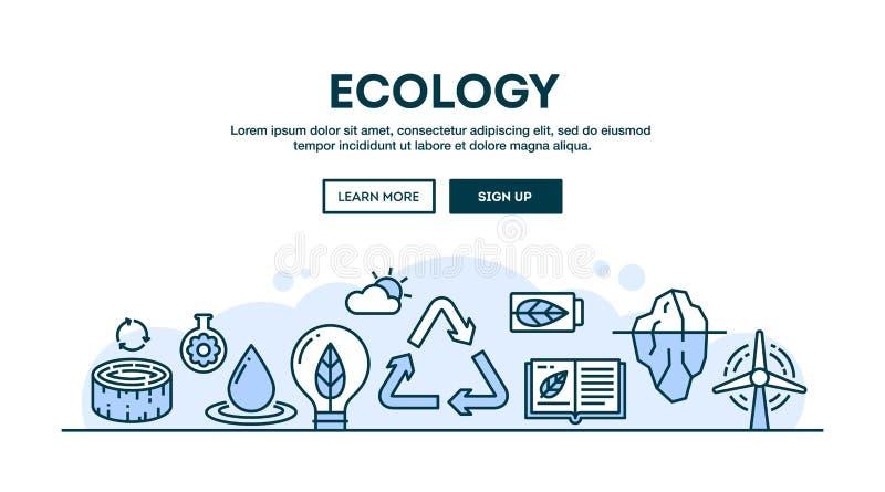 Ecologie, recycling, milieu, duurzaamheid, conceptenkopbal, royalty-vrije illustratie
