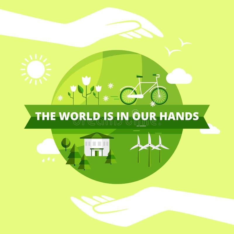 Ecologie Vriendschappelijk Ontwerp royalty-vrije illustratie