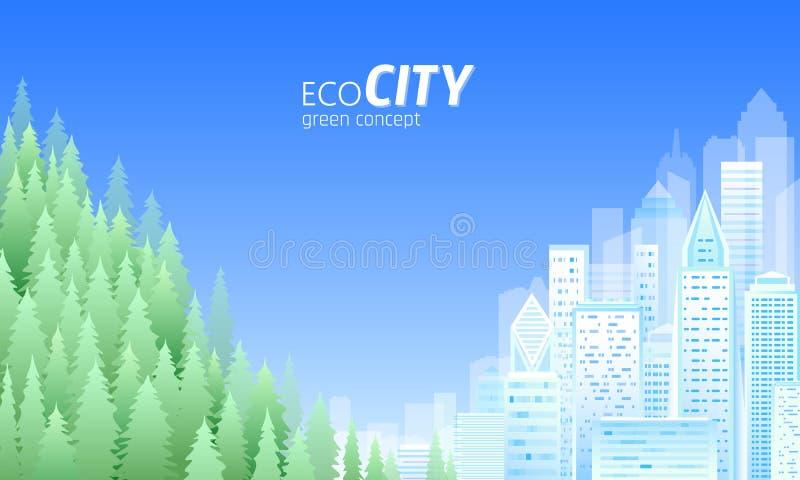Ecologie vriendschappelijke stad Groene energiecityscape het milieudag van de horizonwereld Sparen aardaarde Groen bos vector illustratie